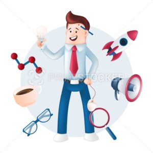 Smiling businessman dressed in a blue shirt with icons around – rocket, megaphone, magnifying glass, mug, glasses. Vector character with a light bulb, computer mouse in hand and pencil behind the ear - PrintStocker.com