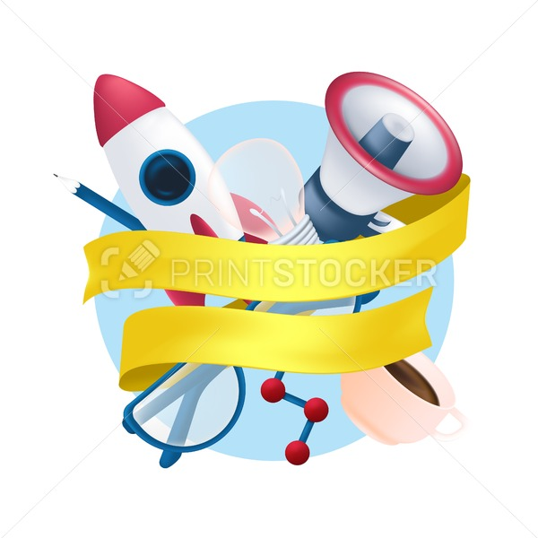 Vector stationery items set with flying rocket, science element, megaphone, coffee mug, pencil, light bulb, glasses and yellow ribbon isolated on white background - PrintStocker.com