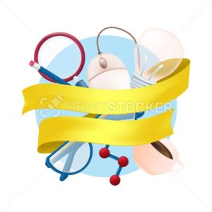 Vector stationery items set with science element, magnifying glass, computer mouse, coffee mug, pencil, light bulb, glasses and yellow ribbon isolated on white background - PrintStocker.com