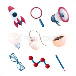 Vector stationery or office items set with flying rocket, science element, megaphone, magnifying glass, computer mouse, coffee mug, pencil, light bulb, glasses isolated on white background - PrintStocker.com