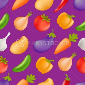Vegetables seamless pattern. Vector cartoon healthy food concept with veggies – carrot, cucumber, paprika, potato, garlic, onion, tomato, eggplant, bell pepper - PrintStocker.com