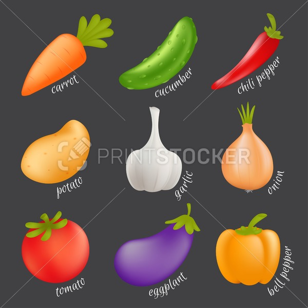 Vegetables vector set. Cartoon healthy food concept with isolated veggies – carrot, cucumber, paprika, potato, garlic, onion, tomato, eggplant, bell pepper - PrintStocker.com