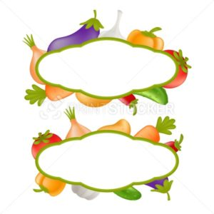 Vegetables vector set. Cartoon healthy food concept with veggie frames consisting from carrot, cucumber, paprika, potato, garlic, onion, tomato, eggplant, and bell pepper isolated on white background - PrintStocker.com