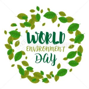 World Environment Day round frame consisting of green leaves. Vector illustration with swirled foliage in the form of earth globe isolated on white background - PrintStocker.com