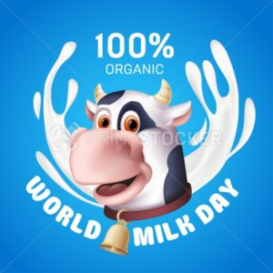 World milk day inscription with white yogurt splashes and the smiling cow cartoon character head. Vector illustration of a horned domestic animal with a golden bell on the blue background - PrintStocker.com