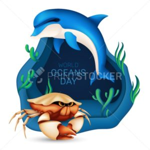 World oceans day graphic design concept of the ecosystem. Vector illustration with a realistic dolphin, crab, coral and seaweed on blue background with origami waves isolated on white - PrintStocker.com