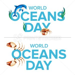 World oceans holiday logo graphic design concept of the ecosystem. Vector illustration with a realistic dolphin, crab claw, coral or seaweed isolated on white background - PrintStocker.com