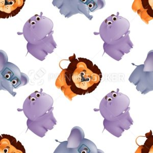 Zoo animals seamless pattern with cute baby lion, hippo and elephant. Vector illustration with funny mascot characters isolated on white background. Great for fabric print, textile or wrapping paper - PrintStocker.com