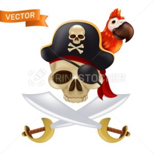 A pirate skull with crossed swords or sabres in a captain's cap with a red parrot. Funny vector illustration of Jolly Roger with a red bandana and black eye patch isolated on a white background - PrintStocker.com