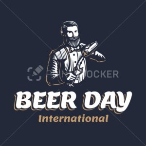 Bearded barmen with a shaker to International Beer Day. Vector illustration of barkeeper or bartender character silhouette at work on a black background in old engraved retro vintage style - PrintStocker.com