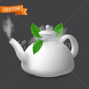 Boiling porcelain teapot with mint leaves. Vector realistic illustration of ceramic kettle with lid. Modern tableware crockery pot for tea and other hot drinks preparation. Side view - PrintStocker.com