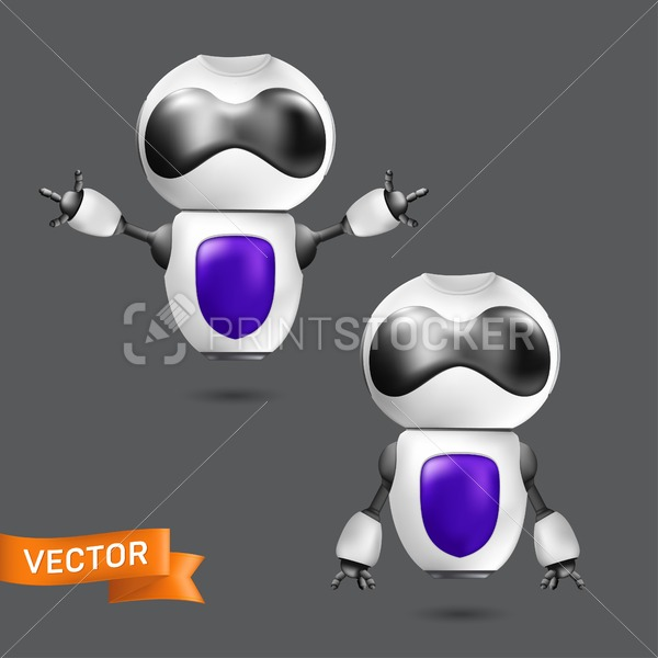 Flying chatbot or robot virtual assistance. Vector illustration of a cute white robot with hands. Artificial intelligence concept of an online cyborg with a violet shield on his chest - PrintStocker.com