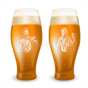 Glass with a bartender engraved emblem to International Beer Day. Vector realistic illustration of two cups of light beverage with foam and drops isolated on a white background - PrintStocker.com