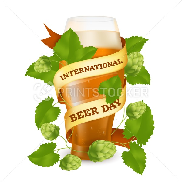 Glass wrapped with a golden ribbon and a hop plant with cones and green leaves to International Beer Day. Vector realistic illustration of a cup with foam and drops isolated on a white background - PrintStocker.com