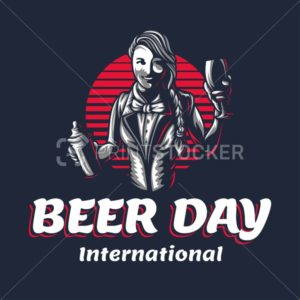 Happy young girl bartender with a shaker to International Beer Day. Vector illustration of woman barkeeper or barman character silhouette at work on a black background in engraved retro vintage style - PrintStocker.com