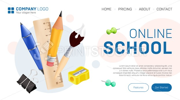 Online school landing page graphic design. Vector illustration with realistic stationary – pen, pencil, paintbrush, ruler, pushpin, sharpener and paperclip for distance education website template - PrintStocker.com
