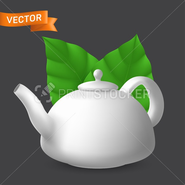 Porcelain teapot side view with mint leaves. Vector realistic illustration of ceramic kettle with lid. Modern tableware crockery pot for tea and other hot drinks preparation - PrintStocker.com