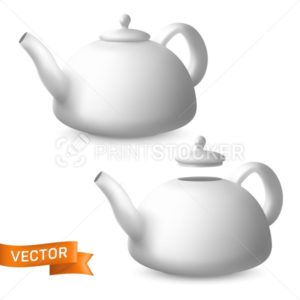 Porcelain teapots side view vector set. Realistic illustration of ceramic kettles with lids. Modern tableware crockery pot for tea and other hot drinks preparation - PrintStocker.com