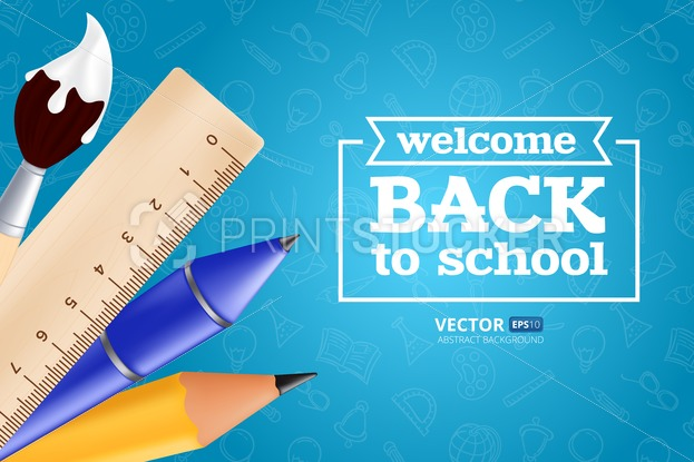 Welcome back to school – objects set with pencil, ruler, pen, paintbrush. Vector illustration with realistic educational items on seamless pattern - PrintStocker.com