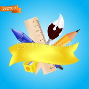 Welcome back to school – objects set with pencil, ruler, pen, sharpener, paintbrush. Vector illustration with realistic educational items and yellow ribbon isolated on blue background - PrintStocker.com