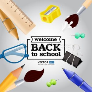 Welcome back to school – objects set with pencil, ruler, pen, sharpener, push pin, paper clip, glasses, paintbrush. Vector illustration with realistic educational items isolated on grey background - PrintStocker.com
