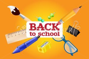 Welcome back to school – objects set with pencil, ruler, pen, sharpener, push pin, paper clip, glasses, paintbrush. Vector illustration with realistic educational items isolated on orange background - PrintStocker.com