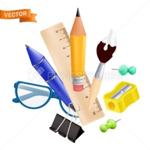 Welcome back to school – objects set with pencil, ruler, pen, sharpener, push pin, paper clip, glasses, paintbrush. Vector illustration with realistic educational items isolated on white background - PrintStocker.com