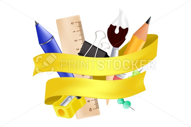 Welcome back to school – objects set with pencil, ruler, pen, sharpener, push pin, paper clip, paintbrush. Vector illustration with realistic educational items and yellow ribbon isolated on white - PrintStocker.com