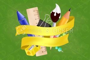 Welcome back to school – objects set with pencil, ruler, pen, sharpener, push pin, paper clip, paintbrush. Vector illustration with realistic educational items and yellow ribbon on seamless pattern - PrintStocker.com