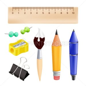 Welcome back to school – objects set with pencil, ruler, pen, sharpener, push pin, paper clip, paintbrush. Vector illustration with realistic educational items isolated on white background - PrintStocker.com