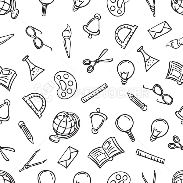 Welcome back to school seamless pattern with stationery objects. Vector illustration with black outline educational items isolated on white background - PrintStocker.com