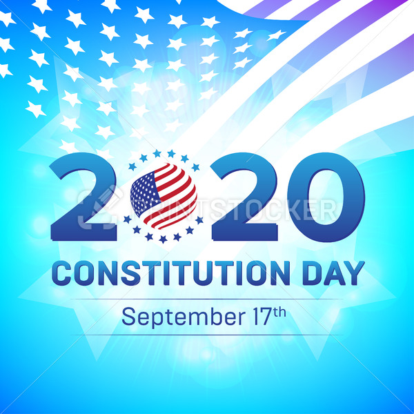 Happy United States Constitution or Citizenship Day 2020, September 17 – Vector illustration with USA flag and stars badge. Great to be used in web banner, poster or flyer design templates - PrintStocker.com