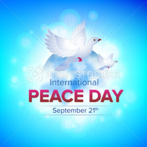 International Peace Day, september 21 – Vector illustration with two flying white doves and earth globe on the blue sky background. Great for web banner, poster or flyer design - PrintStocker.com