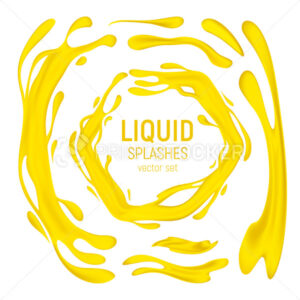 Juice or oil drips and splashes vector set. 3D realistic illustration of the yellow or orange healthy drink, horizontal and vertical splashes or liquid swirls and waves isolated on white background - PrintStocker.com