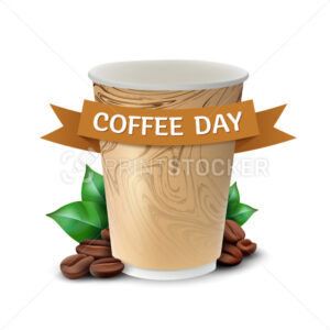 Paper cup of coffee with leaves and beans concept to International Coffee Day celebrating. Vector illustration isolated on white background - PrintStocker.com