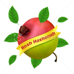 Rosh Hashanah – New Year in Hebrew. Vector illustration with apple, pomegranate and foliage isolated on a white background. Great for web banner, poster or flyer design - PrintStocker.com