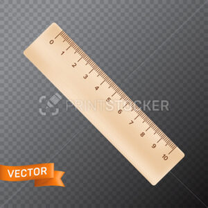 Ten inch or centimeter straight wooden ruler. 3D realistic vector illustration isolated on a transparent background - PrintStocker.com
