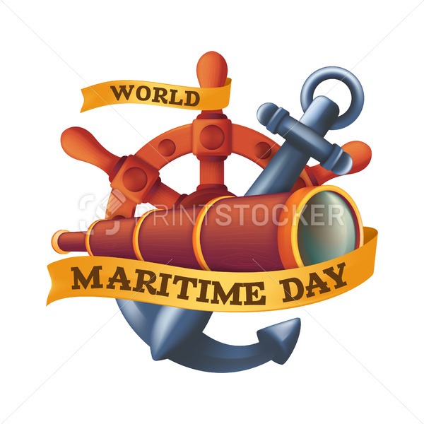 World Maritime Day design concept with steering wheel or rudder, spyglass and anchor. Vintage vector illustration isolated on a white background - PrintStocker.com