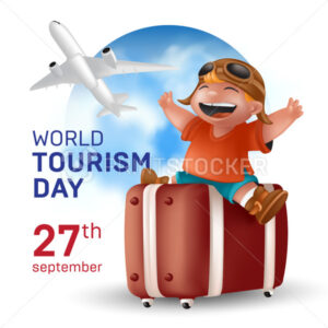 World Tourism Day, September 27 holiday – Vector illustration with a happy traveling boy in a helmet sitting on a suitcase and flying airplane on a blue sky earth globe background - PrintStocker.com
