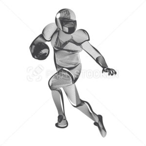 Abstract american football or rugby player male figure in running action moving pose human silhouette Vector sport game outline shape contour illustration line art style isolated on white background - PrintStocker.com