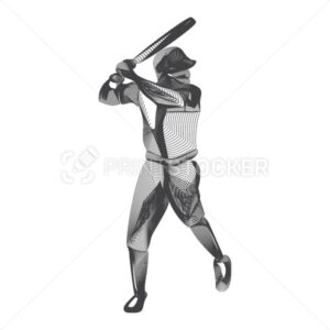 Abstract baseball player male figure with bat in batter action moving pose human silhouette Vector sport game outline shape contour illustration in line art style isolated on white background - PrintStocker.com