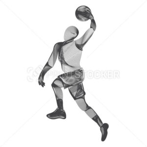 Abstract basketball dribble player male figure in jumping action moving pose human silhouette Vector sport game outline shape contour illustration in line art style isolated on white background - PrintStocker.com