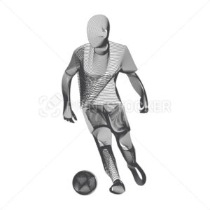 Abstract football or soccer player male figure in running action moving pose human silhouette Vector sport game outline shape contour illustration in line art style isolated on white background - PrintStocker.com