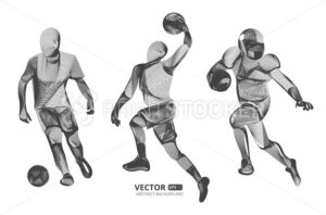 Abstract sport game competition player male figure in action jumping and running moving pose human silhouette Vector outline shape contour illustration in line art style isolated on white background - PrintStocker.com