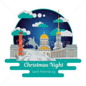 Christmas night in Saint-Petersburg. Flat cityscape. Vector illu - PrintStocker.com