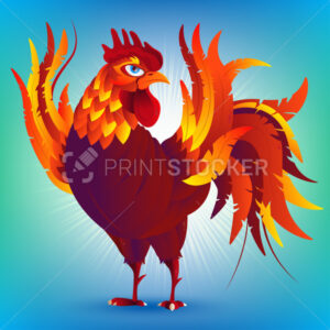 Colorful cartoon rooster, symbol of 2017 year by eastern calenda - PrintStocker.com