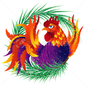 Colorful cartoon rooster with fir branch, symbol of 2017 year by - PrintStocker.com