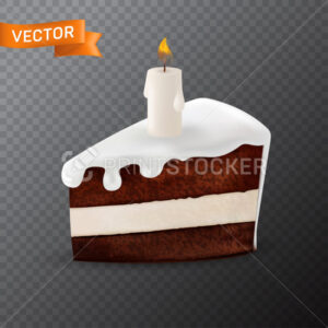 Delicious piece of chocolate cake with dripping cream and decorated with a burning white candle on it. Vector illustration in a 3D mesh realistic style isolated on a transparent background - PrintStocker.com