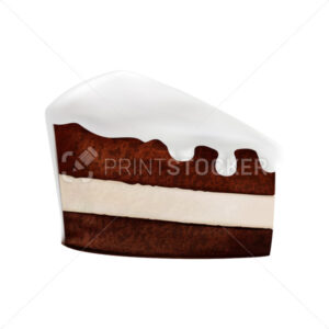 Delicious piece of chocolate cake with filling and dripping white cream. Vector illustration in a 3D mesh realistic style isolated on a white background - PrintStocker.com