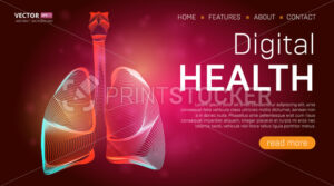 Digital health landing page template or medical hero banner design concept. Human lungs outline organ vector illustration in 3d line art style on abstract background - PrintStocker.com